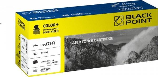 Black Point toner LCBPLC734Y zastępuje Lexmark C734A1YG, żółty