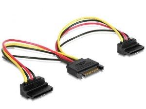 Gembird Kabel SATA zasilający (M)->2xSATA(F) kątowy 15cm