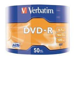 Verbatim DVD-R 16x 4.7GB 50P SP Matt Silver Wrap 43788