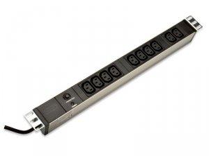 Digitus Listwa zasilająca PDU 19 RACK 10xC13, 2m 1xC14, 10A, zab.przeciążeniowe, aluminiowa