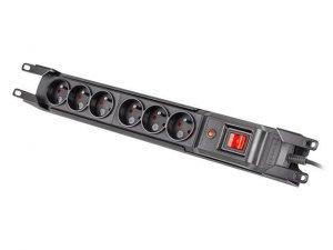 ARMAC Listwa przeciwprzepięciowa rack 19cali M6 3m 6x230v czarna M6/30/R/CZ
