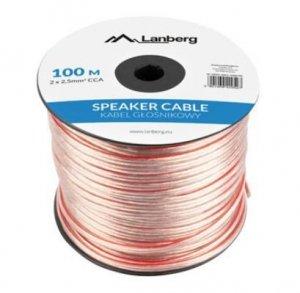 LANBERG Kabel głośnikowy 2x2.5mm2 100m przezroczysty