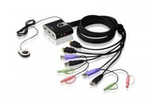 ATEN Przełącznik KVM 2-portowy USB HDMI/Audio ze zdalnym selektorem portu