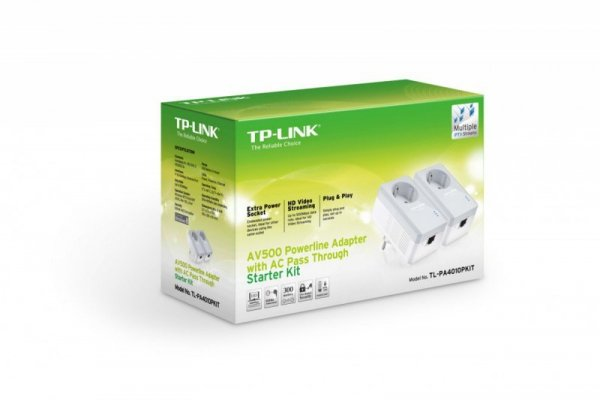 TP-LINK PA4010PKIT Powe Line 500Mbps 1x10/100 Compact Size