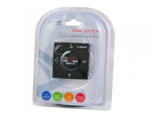 Elmak SAVIO CL-26 Switch HDMI 3 porty, Full HD,  blister