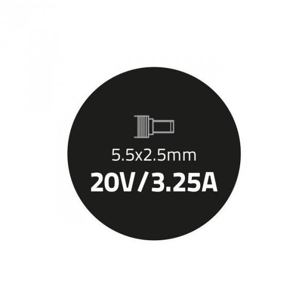 Qoltec Zasilacz do laptopa 65W   20V   3.25A   5.5*2.5