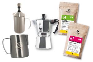 Zestaw Kawiarka 4tz + Dzbanek + Spieniacz + 2x kawa 8 grams