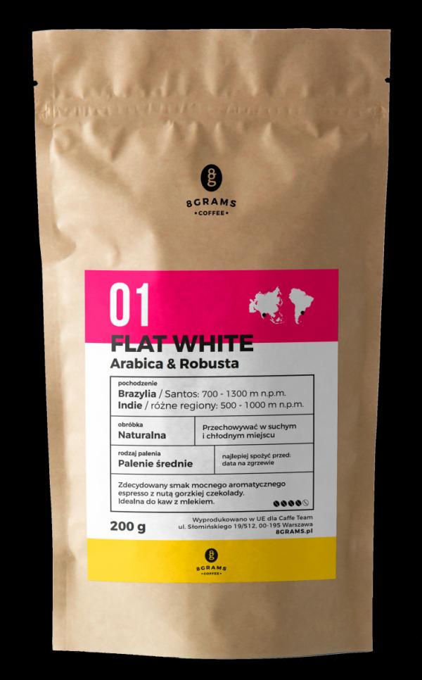 Flat White 200g, kawa z palarni, kawa ziarnista, kawa mielona, mieszanka, arabica, robusta