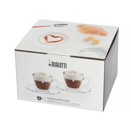 Bialetti Vetro - Zestaw 2 filiżanek ze spodkami do cappuccino
