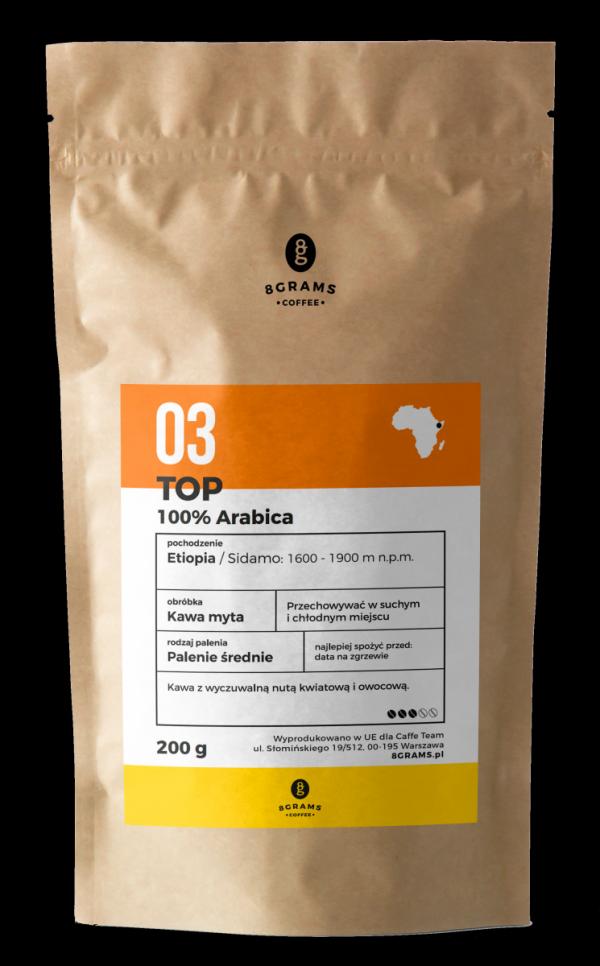 TOP 100% arabika 200g, kawa z palarni, kawa ziarnista, kawa mielona, mieszanka, arabica, robusta