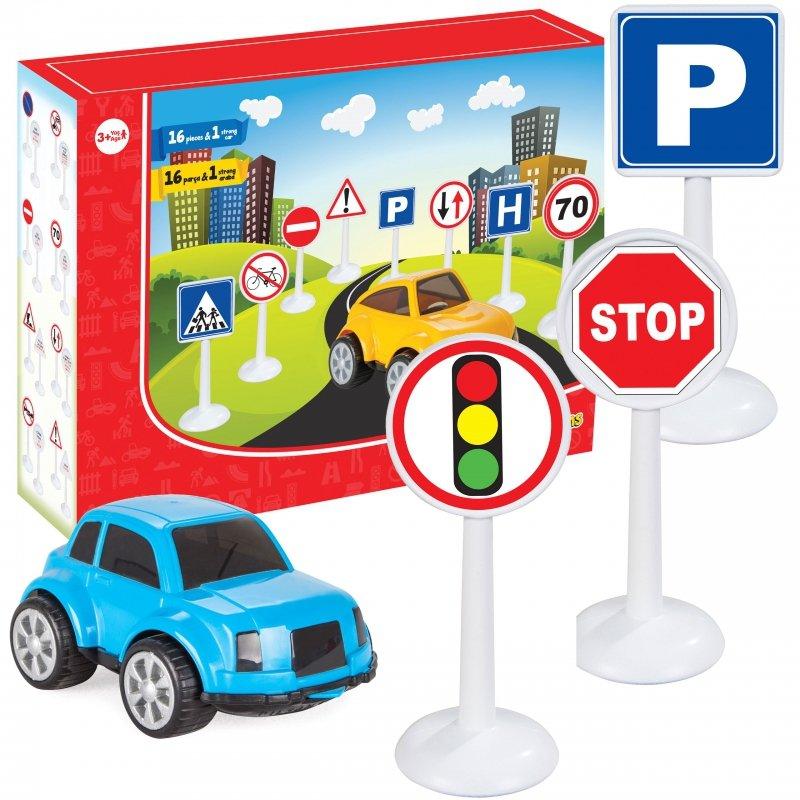 Zestaw Edukacyjny Mini Znaków Drogowych 16 el. + Samochodzik WOOPIE