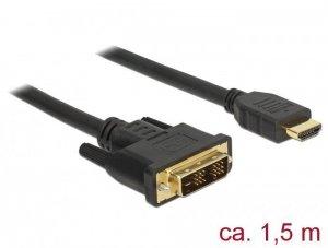 Kabel DELOCK 85583 (DVI-D (Single link) M - HDMI M; 1,5m; kolor czarny)