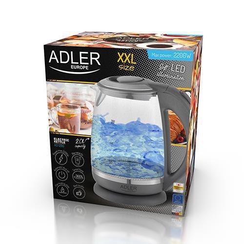 Czajnik elektryczny Adler AD 1286 (2000W 2l; kolor szary)
