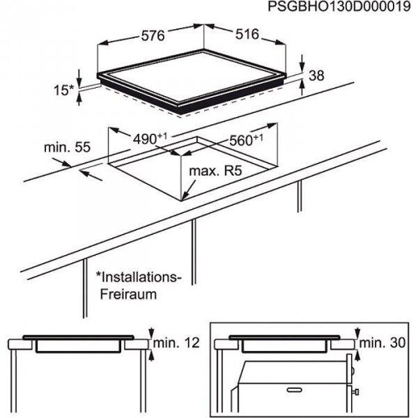 Electrolux EHF6342XOK płyta kuchenna Czarny Wbudowany Ceramiczna 4 zone(s)
