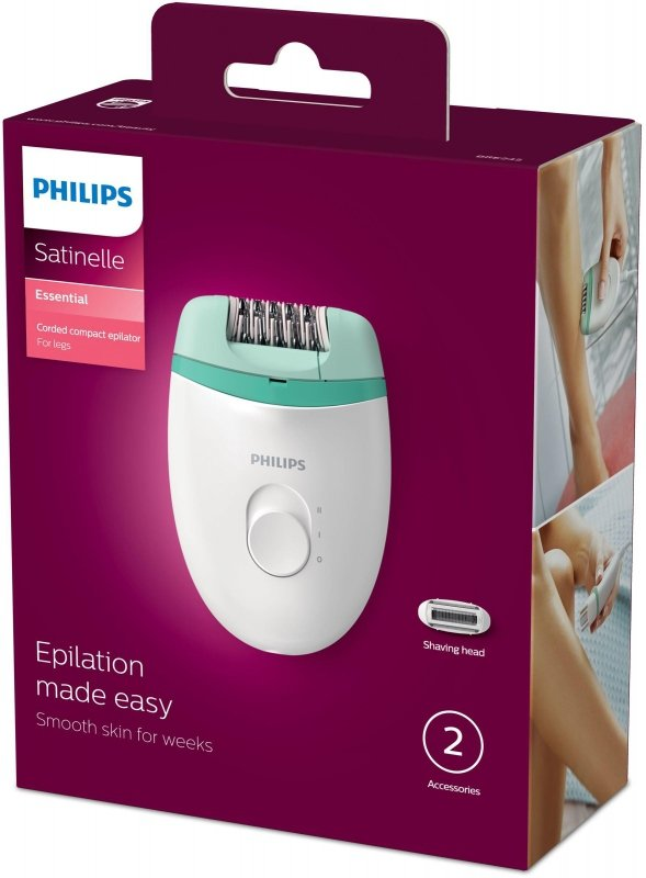 Philips Satinelle Essential Zasilany sieciowo kompaktowy depilator do nóg z 2 akcesoriami