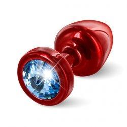 Plug analny zdobiony - Diogol  Anni Butt Plug Round Red & Blue 25 mm Czerwony z niebieskim