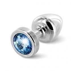 Plug analny zdobiony - Diogol Anni Butt Plug Round Silver & Blue 25 mm Srebrny z niebieskim