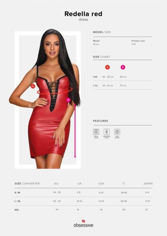 Bielizna- Redella sukienka czerwona L/XL