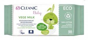Cleanic Baby Eco Chusteczki nawilżane dla niemowląt i dzieci Vege Milk - biodegradowalne  1op.-50szt