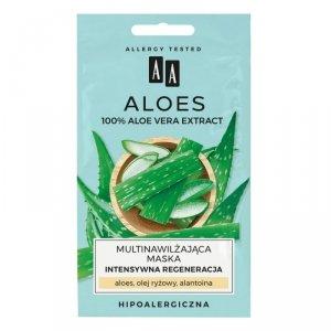 AA Aloes 100% Multinawilżająca Maska na twarz- intensywna regeneracja  4mlx2