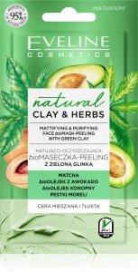 Eveline Natural Clay & Herbs Bio Maseczka - Peeling z zieloną glinką  8ml