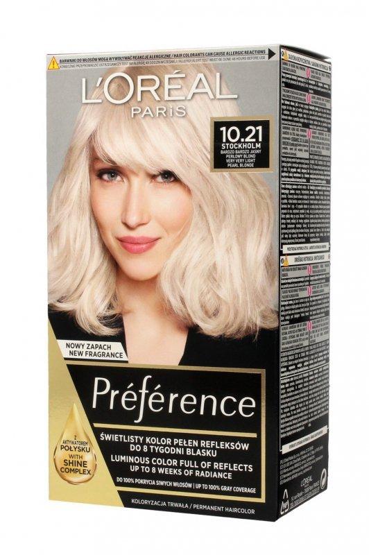Loreal Preference Farba do włosów nr 10.21 Stockholm - bardzo bardzo jasny perłowy blond  1op.