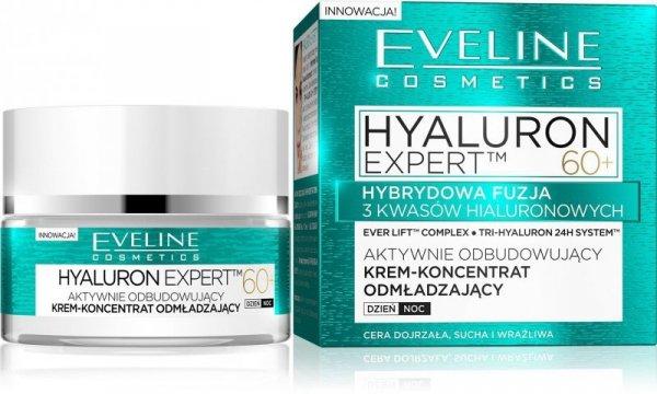 Eveline Hyaluron Expert 60+ Krem-koncentrat aktywnie odbudowujący na dzień i noc  50ml