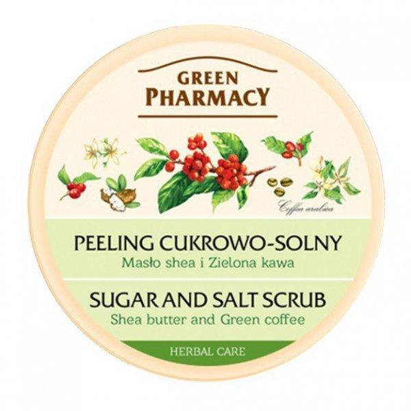 Green Pharmacy Peeling cukrowo solny Masło Shea, Zielona herbata  300ml