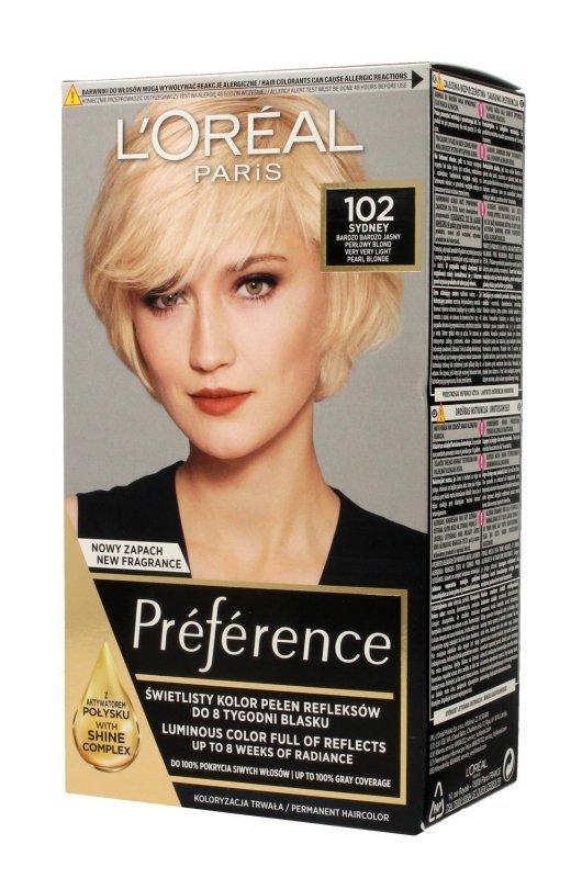 Loreal Preference Farba do włosów nr 102 Sydney - bardzo bardzo jasny perłowy blond  1op.