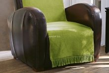 Koc jednolity oliwka na fotel