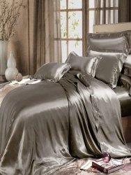 Zestaw jedwabnej pościeli silver brown 160x200