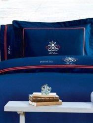 Ekskluzywna pościel na prezent Tivolyo Navy blue marinistyczna z haftem