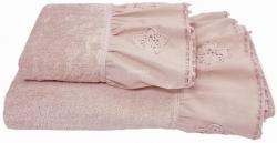 Ręcznik różowy z falbanką 50x90, 70x140