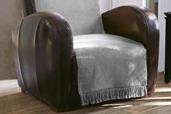 Koc jednolity szary na fotel
