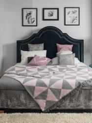 Koc Trójkaty szaro-różowy 150x200