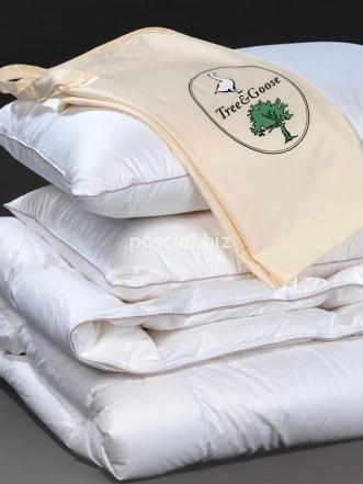 Zestaw kołdra puchowa Tree&Goose całoroczna 160x200+2poduszki