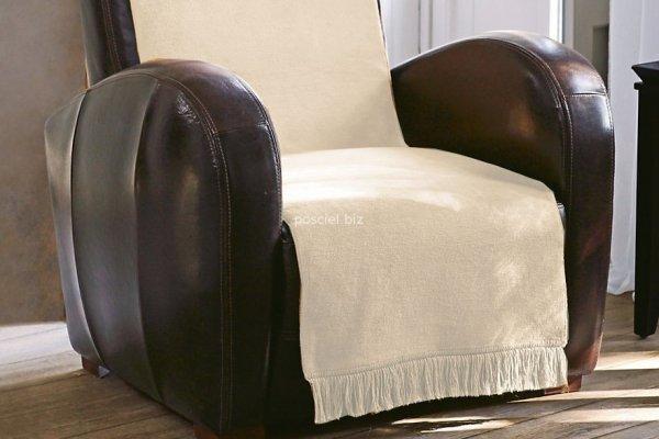 Moca desgin koc jednolity ecru na fotel