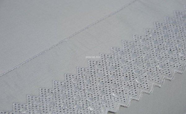 Pościel bawełniana Kalina szara z koronką 220x200