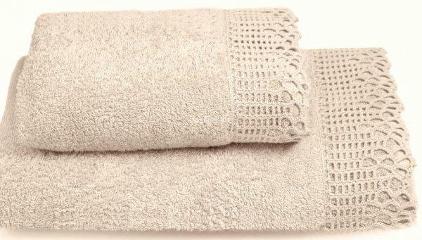 Ręcznik Ada beżowy z koronką 50x90, 70x140