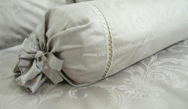 Elegancka pościel żakardowa z włoskiej satyny popielata 155x200