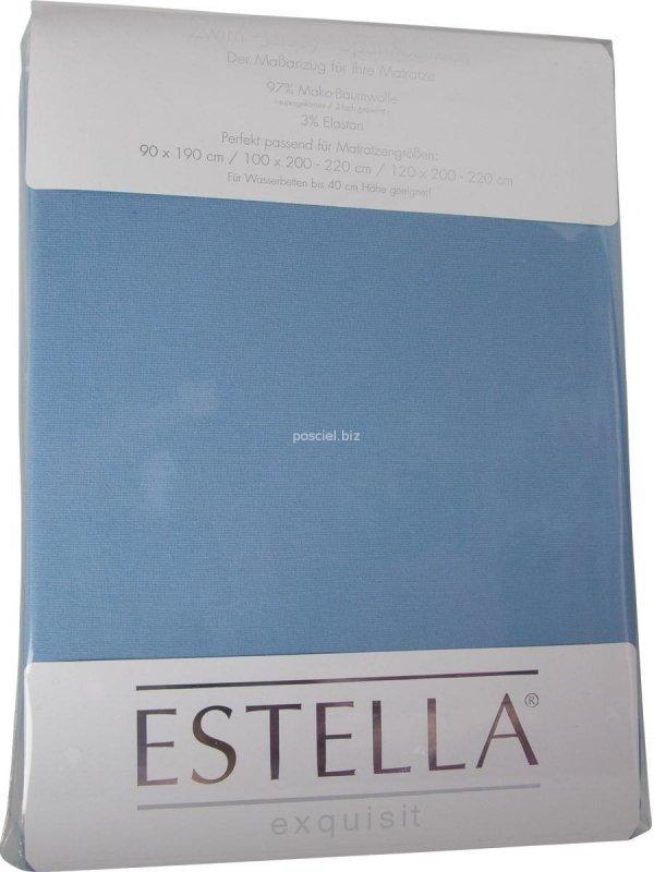 Prześcieradło zwirn-jersey z gumką Estella hellblau
