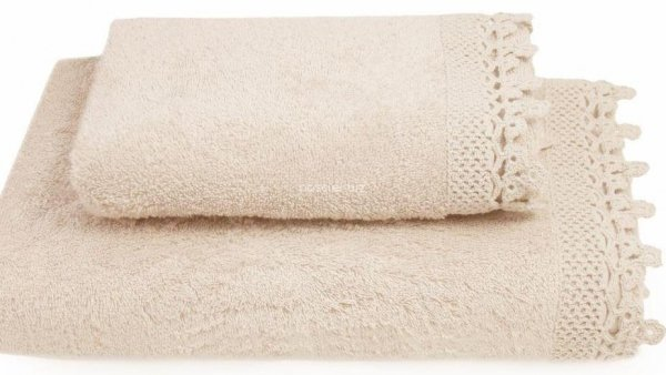 Ręcznik Iga kremowy z koronką 50x90, 70x140