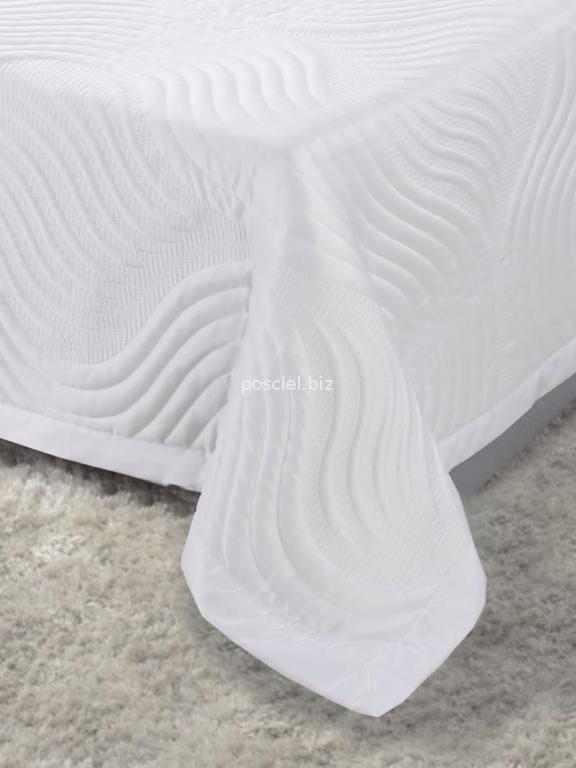 Narzuta satynowa Fala biel 160x220
