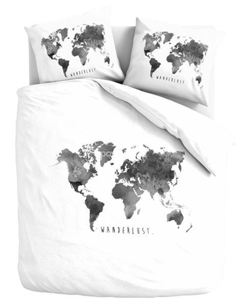 Pościel bawełniana Mapa świata biało-szara 160x200