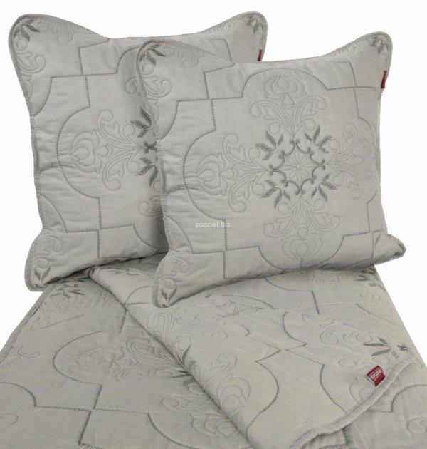 Przepiękna haftowana narzuta bawełniana szara 200x220
