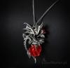 gotycki naszyjnik Draca Rosa - Róża i Smok, seria Carpe Noctum Anne Stokes