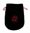 czarny woreczek na karty tarota Podwójny Pentagram - sakiewka z aksamitu