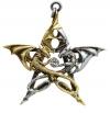 gotycki naszyjnik Draca Stella - Pentagram Dwa Smoki, seria Carpe Noctum Anne Stokes