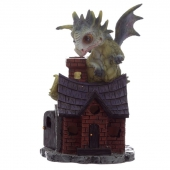 Zielony Smok na domku Opiekun Snów - figurka fantasy wzór nr 2