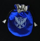 Runiczna Sowa - niebieska sakiewka, woreczek na karty Tarota